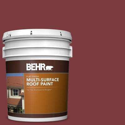 5 gal. #PFC-02 Brick Red Flat Multi-Surface Exterior Roof Paint