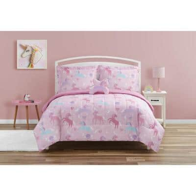Unicorn Planet Light Pink 4-Pieces- Brushed Microfiber Comforter Set-Full