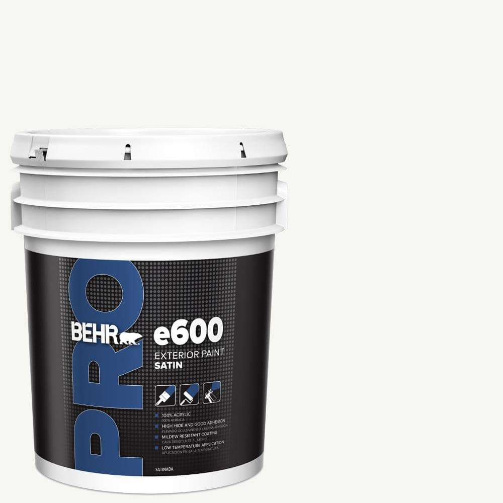 Behr Pro 5 Gal E600 White Satin Enamel Exterior Paint Pr64005 The Home Depot