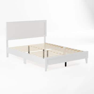 Leah Classic Wood Platform Bed - King - White