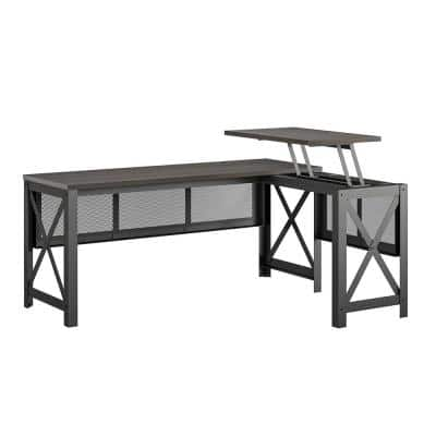 Caswell 67.2 in. Walnut L- Desk with Lift-Top