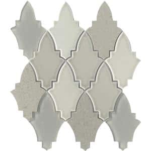 Fleur Roza 11.18 in. x 11.89 in. Floral Polished Glass Mosaic Tile ( 0.923 sq. ft./Each)