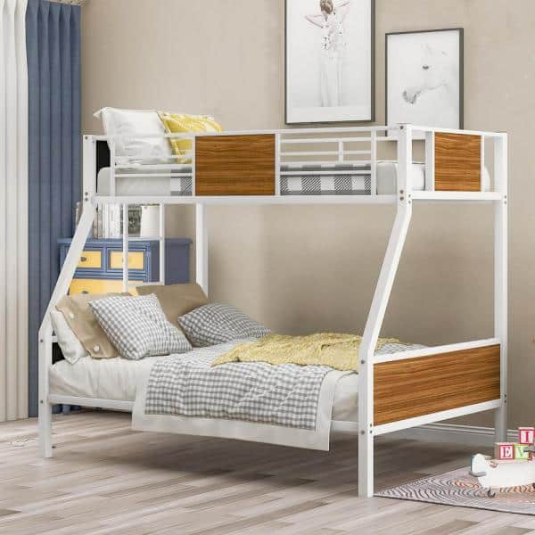 Magic Home White Twin Over Full Steel Frame Bunk Bed Daybed With Safety Rail And Build In Ladder Cs Lp000090aak The Home Depot