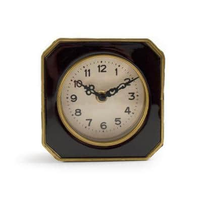 Black and Gold Rounded Square Table Clock