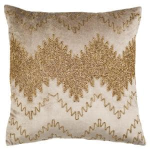 Gold Striped Down Alternative 18 in. x 18 in. Throw Pillow