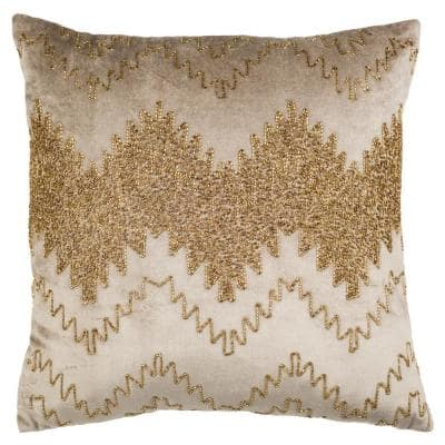 Gold Sparkle 18 in. x 18 in. Throw Pillow