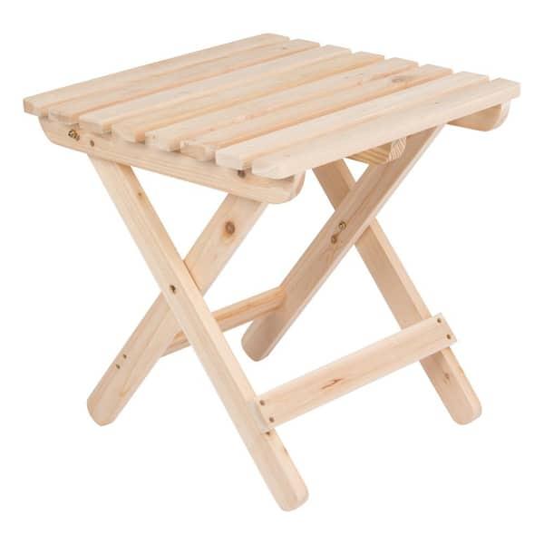 Shine Company Adirondack Natural Square Wood Folding Table 4109n The Home Depot