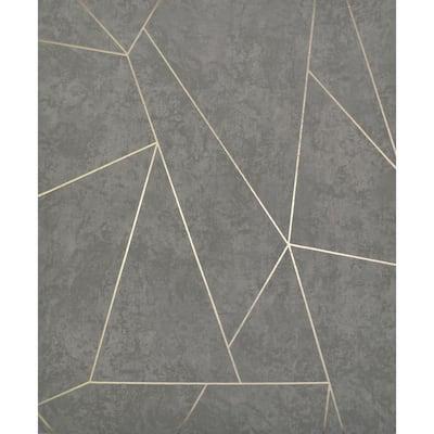 56.9 sq. ft. Dark Grey/Gold Nazca Wallpaper
