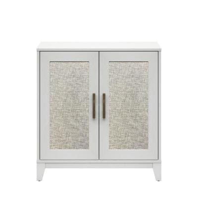 White Accent Cabinet with Reversible Door Panels