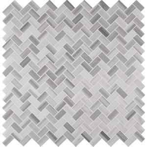 Bergamo Herringbone 12 in. x 12 in. x 10 mm Polished Marble Mesh-Mounted Mosaic Tile (10 sq. ft. / case)