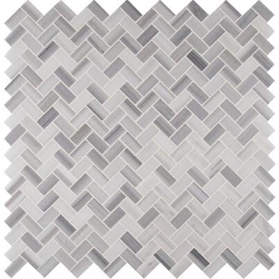 Tile Sample - Bergamo Herringbone 6 in. x 6 in. x 10 mm Polished Marble Mesh-Mounted Mosaic Tile - 6 in. x 6 in