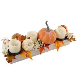 23 in. W x 9.25 in. H Fall Harvest Wood Ledge Pumpkin Arrangement Centerpiece Candle Holder with Fall Leaf and Berries