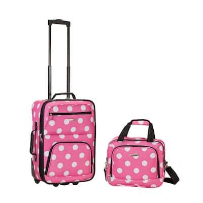 Fashion Expandable 2-Piece Carry On Softside Luggage Set, Pink Dot