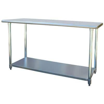 60 in. Stainless Steel Kitchen Utility Table with Bottom Shelf