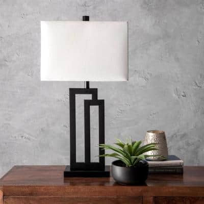 Portland 32 in. Black Contemporary Table Lamp, Dimmable