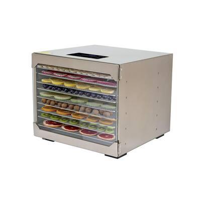 10-Tray Silver Food Dehydrator with Digital Control Panel