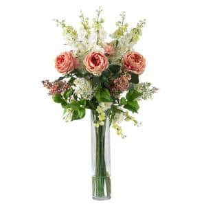 38 in. H Pink Rose, Delphinium and Lilac Silk Flower Arrangement