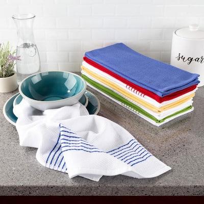 Multi-Color Diamond Weave Striped and Solid Color Cotton Kitchen Towel Set (8-Pieces)