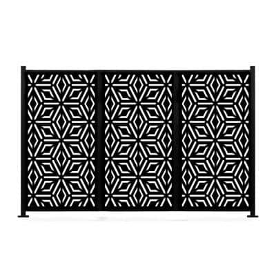 48 in. x 72 in. New Style MetalArt Laser Cut Metal Black Privacy Fence Screen Set, Diamond, 2 Pole with 3 Panel