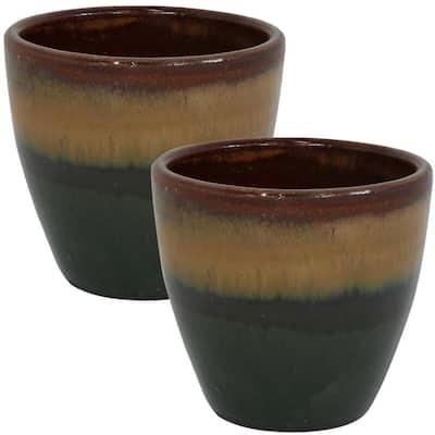 Resort 8 in. Forest Lake Green Ceramic Indoor/Outdoor Planter (2-Pack)