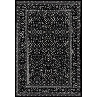 Kensington Microfloral Black 8 ft. x 11 ft. Area Rug