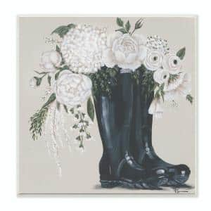 12 in. x 12 in. ''White Flower Arrangement in Black Boots Painting'' by Penny Lane Publishing Wood Wall Art