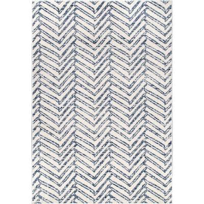 Rosanne Geometric Herringbone Blue 8 ft. x 10 ft. Area Rug