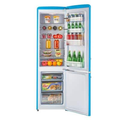 21.6 in. 9 cu. ft. Retro Bottom Freezer Refrigerator in Robin Egg Blue, ENERGY STAR