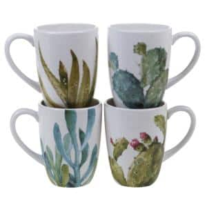 Cactus Verde 22 oz. Green Graphic Mug (Set of 4)