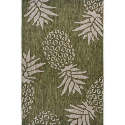 Catalina Green/Beige 7 ft. 9 in. x 9 ft. 9 in. Pineapple Escape Tropical Indoor/Outdoor Area Rug