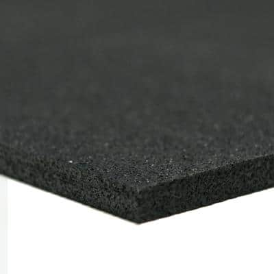 Recycled Rubber - 60A - Sheets and Rolls 3/8 in. T x 4 ft. W x 4 ft. L Black Rubber Garage Flooring