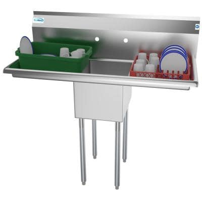 44 in. Freestanding Stainless Steel 1 Compartment Commercial Sink with Drainboard