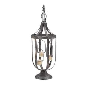 Grey Metal Traditional Candle Lantern