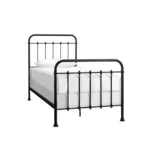Dorley Farmhouse Black Metal Twin XL Bed (42.91 in W. X 53.54 in H.)