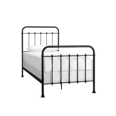 Dorley Farmhouse Black Metal Twin Standard Bed (42.91 in. W x 53.54 in. H)