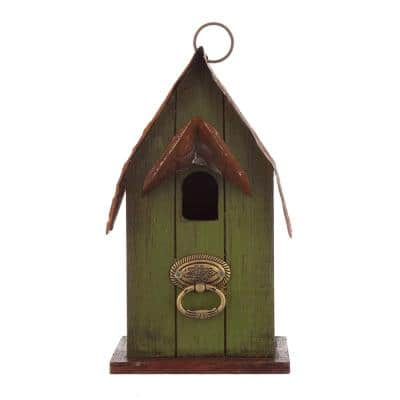 10 in. H Rustic Garden Distressed Solid Wood Decorative Bird House