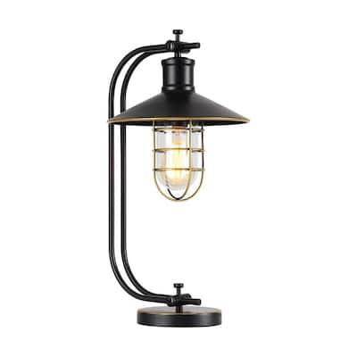 Kyriaki 22 in. Black Indoor Desk Lamp with Glass Shade