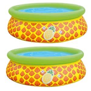 5.5 ft. Round 16 in. D Pineapple Splash Inflatable Kiddie Pool Set (2-Pack)