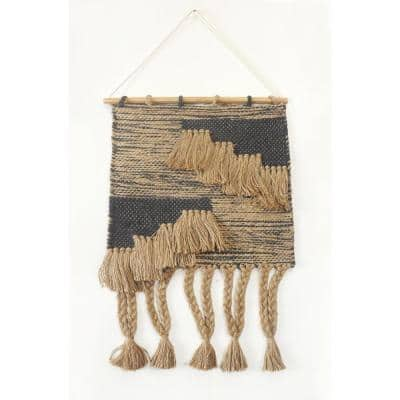 Rustic Slate Gray Fringed Wall Tapestry