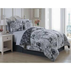 Amour 8-Piece Black/White King Comforter Set