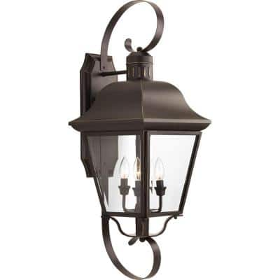 Andover Collection 4-Light Antique Bronze Clear Beveled Glass Farmhouse Outdoor Extra-Large Wall Lantern Light