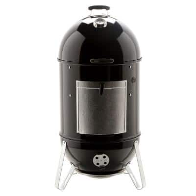 22 in. Smokey Mountain Cooker Smoker in Black with Cover and Built-In Thermometer
