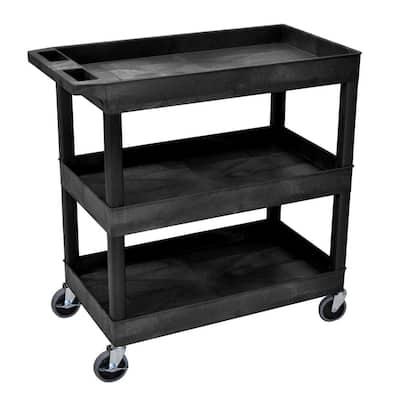 18 in x 35 in 3-Shelf Plastic Tub Cart, Black