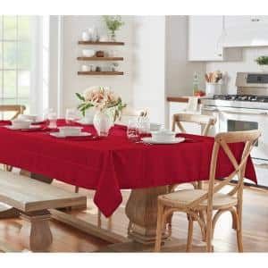 60 in. W x 102 in. L Poinsettia Red Elrene Elegance Plaid Damask Fabric Tablecloth