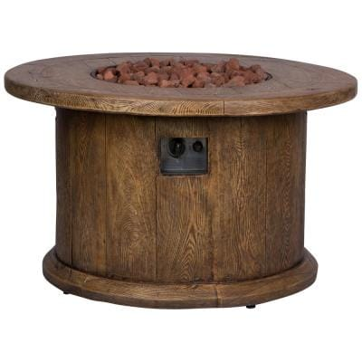 Merida Round Outdoor Propane Gas Brown Fire Pit Table with Lava Rock, 40 in. Dia