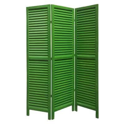 SHUTTER 5.5 ft. GREEN 3-Panel Room Divider