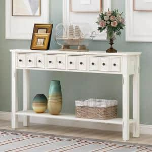 60 in. White Standard Rectangle Wood Console Table with Drawers
