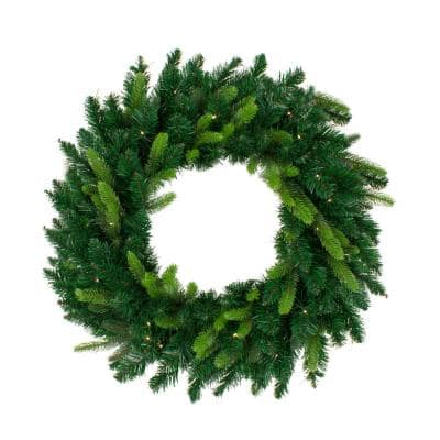 36 in. Warm White LED Lights Pre-Lit Gunnison Pine Artificial Christmas Wreath