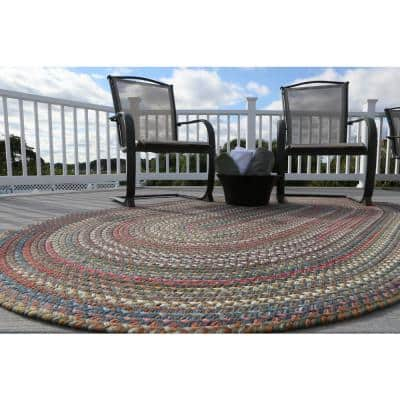 Bouquet Tawny Port 4 ft. x 6 ft. Oval Indoor/Outdoor Braided Area Rug
