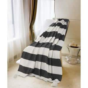 Metty Charcoal / Ivory Bold Striped Tasseled Cotton Throw Blanket